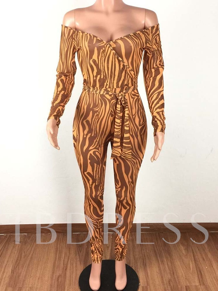 Leopard Full Length Sexy Belt High Waist Women's Jumpsuit