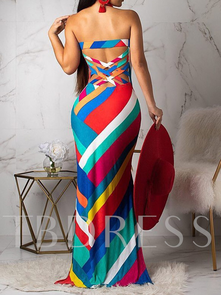 Off Shoulder Sleeveless Split Prints Women's Maxi Dress