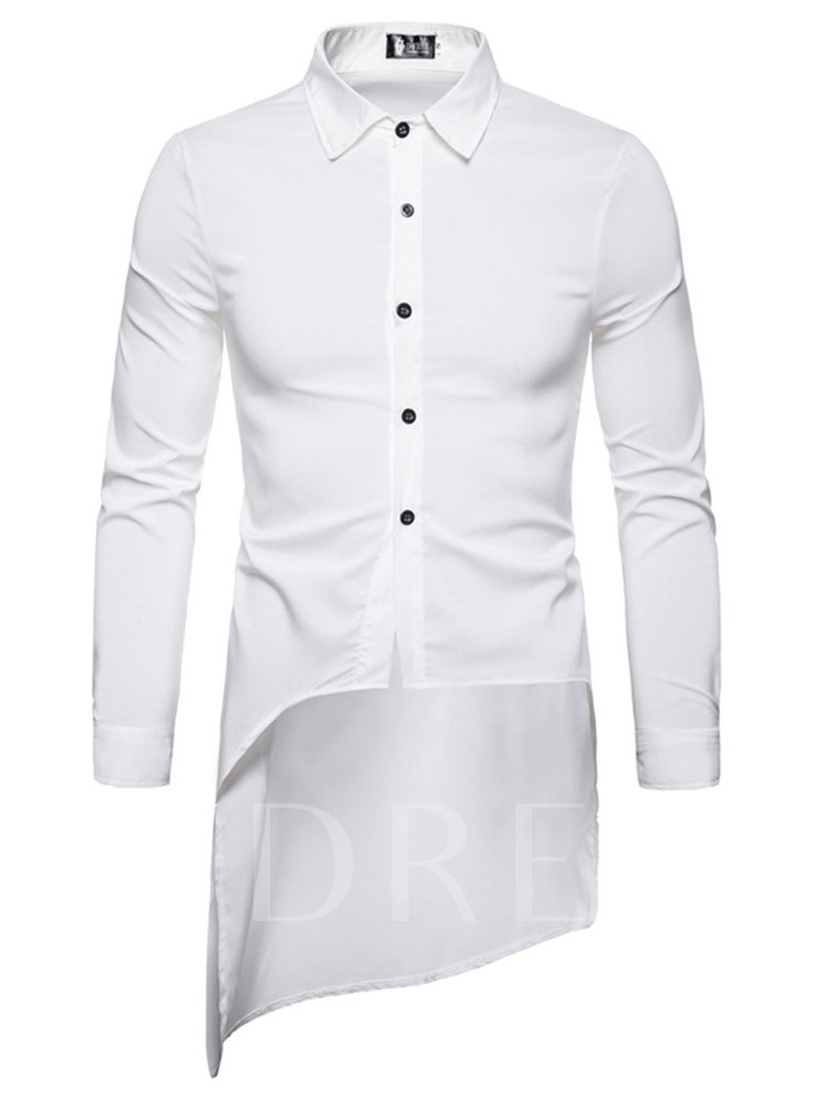 Lapel Plain Button Fashion Single-Breasted Men's Shirt