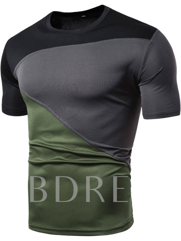 Round Neck Patchwork Color Block Casual Slim Men's T-shirt