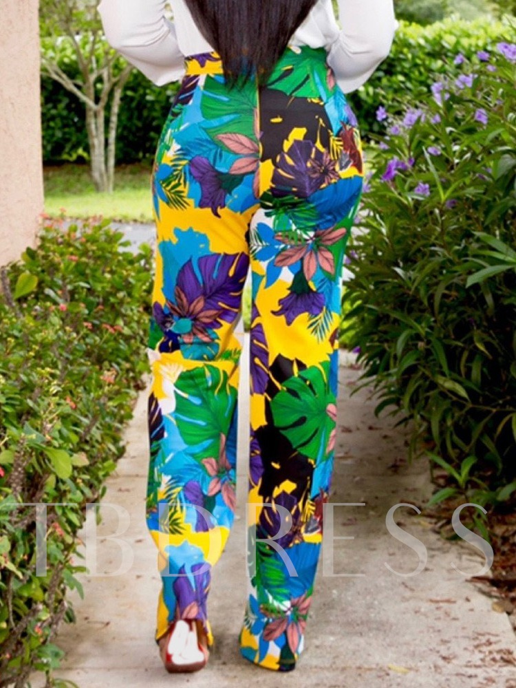 Loose Plant Print Straight Women's Casual Pants