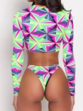 Zipper Tankini Set Geometric Women's Swimwear