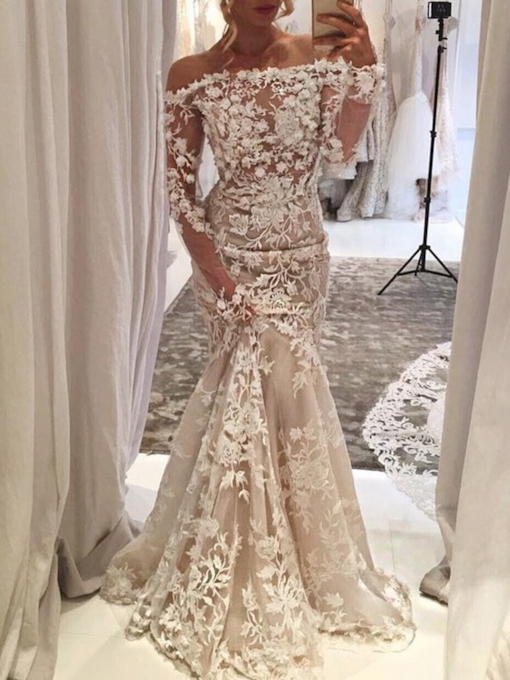 Appliques Off-The-Shoulder Long Sleeves Mermaid Wedding Dress 2019