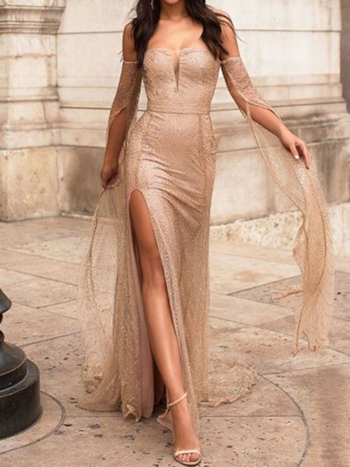 Long Sleeve Off Shoulder Sequins Women's Maxi Dress
