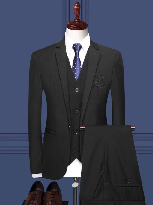One Button Fashion Pocket Blazer Men's Dress Suit
