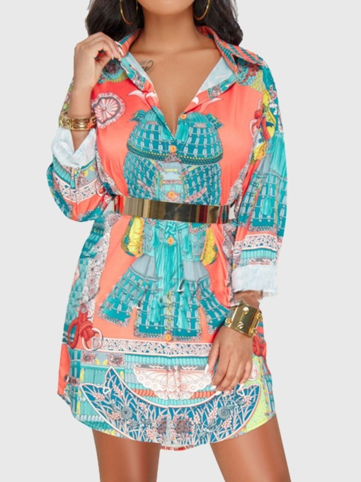 Lapel Color Block Print Mid-Length Women's Blouse