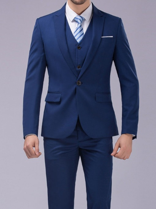 Blazer Plain Fashion Button Men's Dress Suit