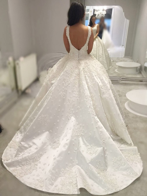 Ball Gown Chapel Train Flowers Wedding Dress 2019