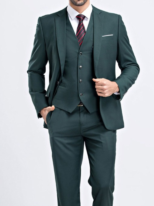 Plain Fashion Button One Button Men's Dress Suit