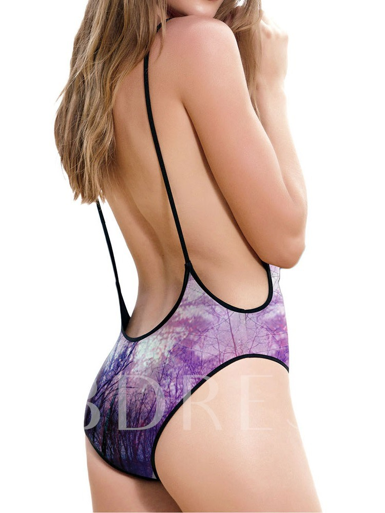 One Piece Print Plant Women's Swimwear