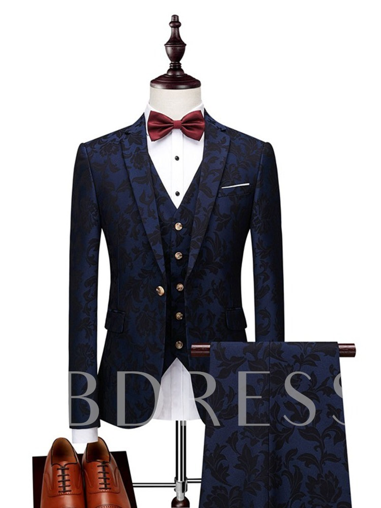 Blazer Plain Button Fashion Men's Dress Suit
