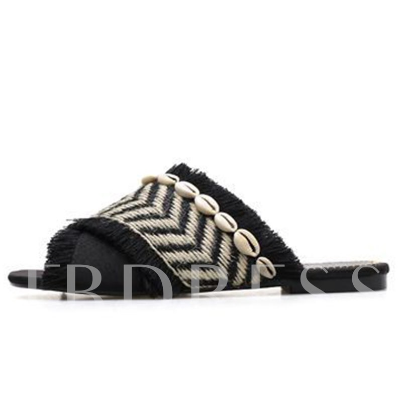 Flat Cross Woven Slip-On Casual Women's Sandals