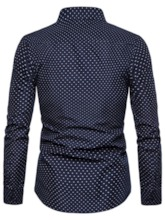 Lapel Button Polka Dots Casual Slim Men's Shirt