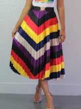 Pleated Mid-Calf Color Block Office Lady Women's Skirt