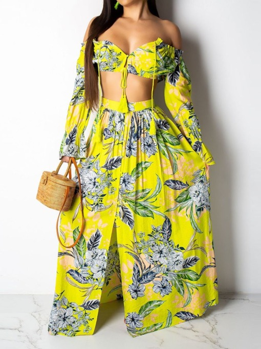 Floral Print T-Shirt Pullover Women's Two Piece Sets