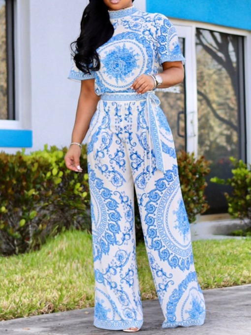 Floral Office Lady Print Full Length Loose Women's Jumpsuit