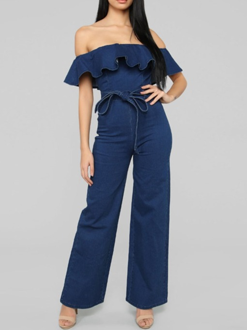 Plain Western Belt Full Length Slim Women's Jumpsuit