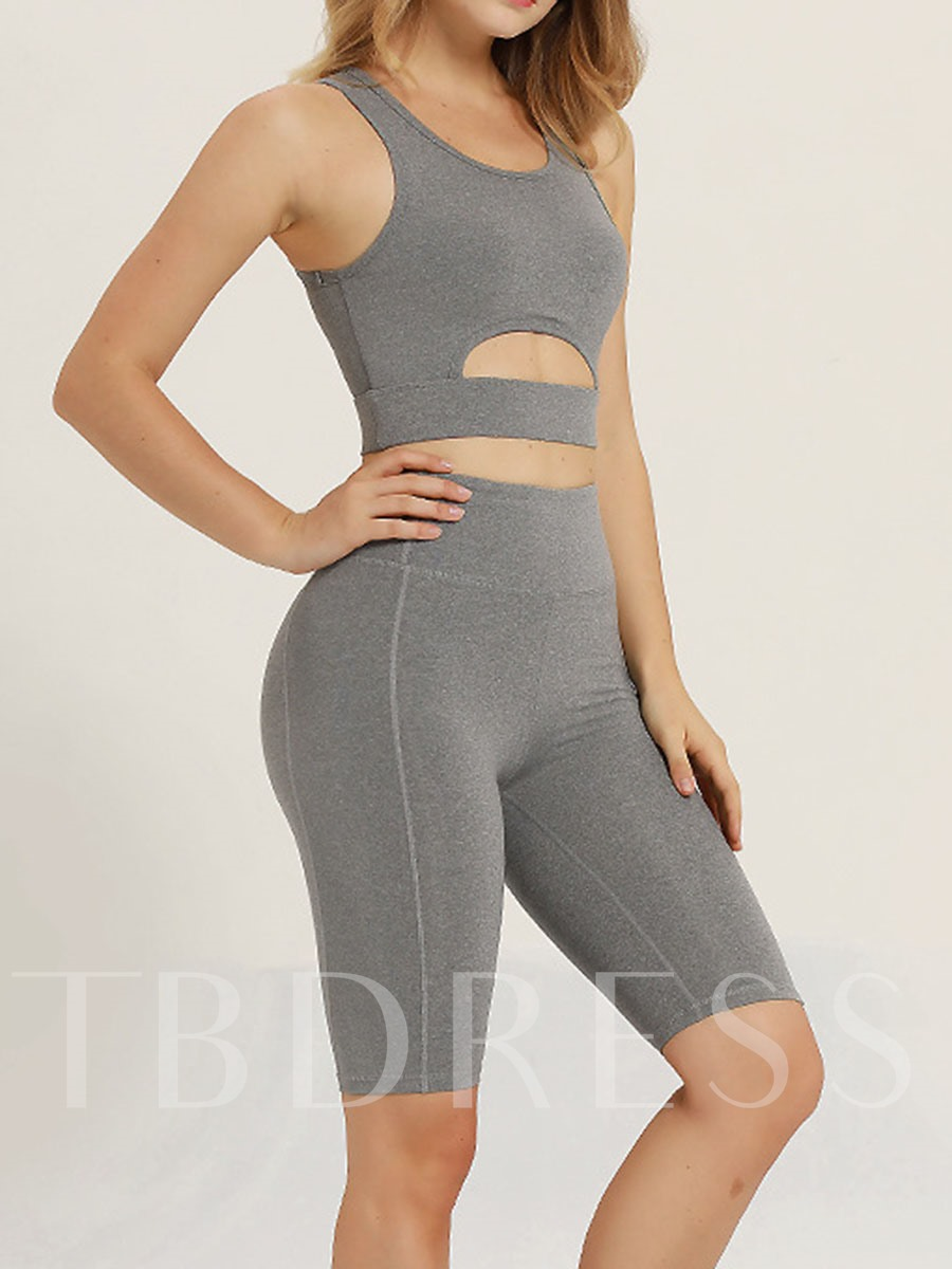 Breathable Workout Suit Shorts Sleeveless Hollow Sports Set for Women