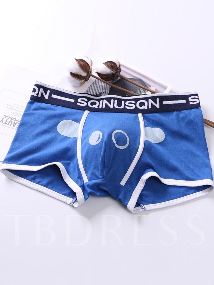 Cartoon Print Cotton Low Waist Men's Underwear
