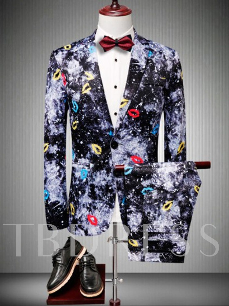 Blazer Fashion Color Block Pocket Men's Dress Suit