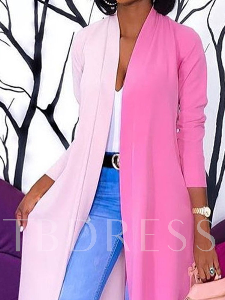 Patchwork Wrapped Long Three-Quarter Sleeve Women's Trench Coat