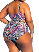 Plus Size One Piece Geometric Print Women's Swimwear