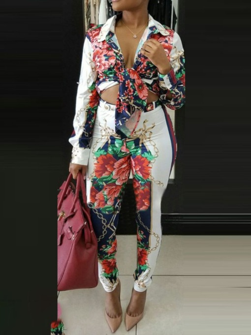 Pants Button Floral Lapel Women's Two Piece Sets