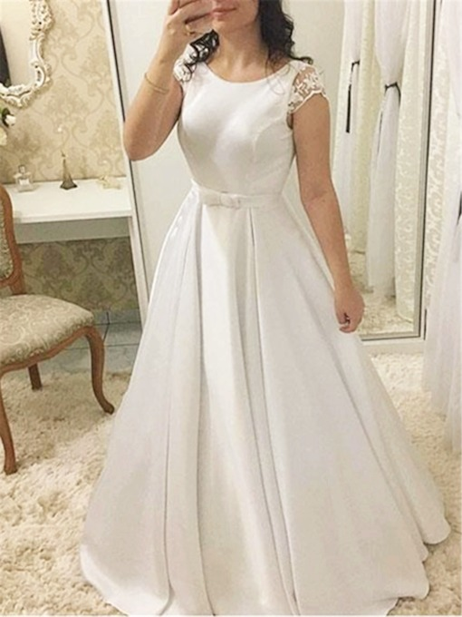 Cap Sleeves Bowknot Lace Wedding Dress 2019