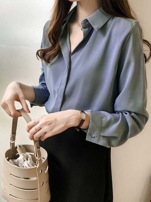 Regular Plain Long Sleeve Women's Blouse