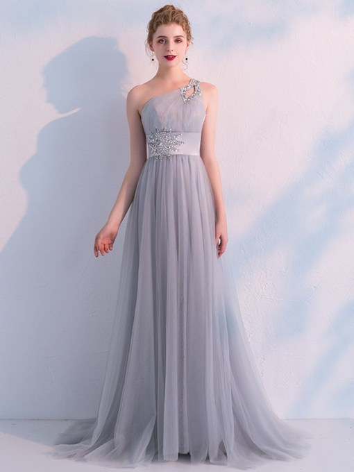 One Shoulder Floor-Length A-Line Appliques Prom Dress 2021