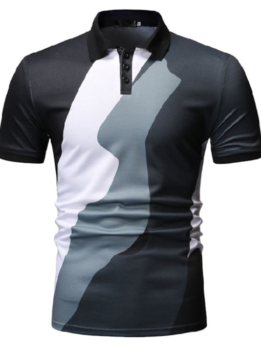 Color Block Casual Button Polo Neck Men's Polo Shirt