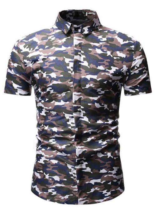 Button Lapel Camouflage Casual Slim Men's Shirt
