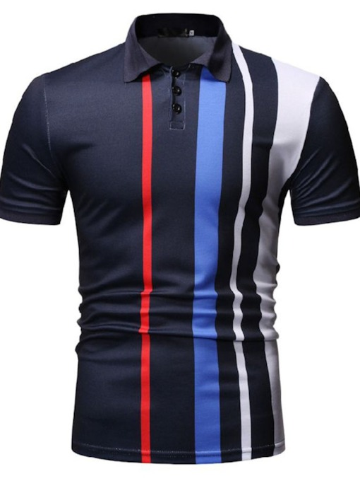 Button Polo Neck Color Block Casual Men's Polo Shirt