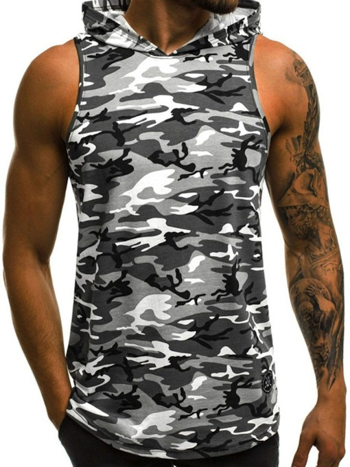 Camouflage Print Hooded Slim Casual Men's Vest