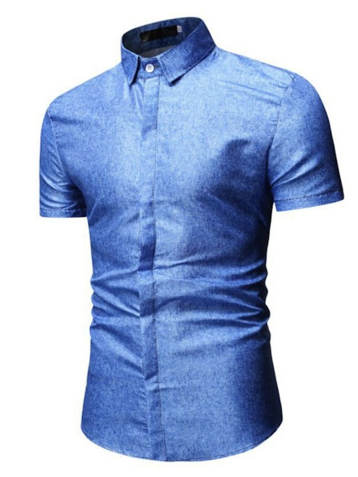 chemise à manches courtes simple boutonnage occasionnel revers simple