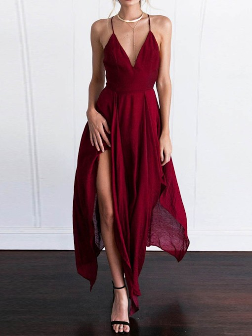 Split V-Neck Sleeveless Asymmetrical Women's Maxi Dress