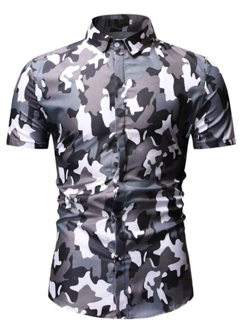 Casual Camouflage Button Lapel Summer Men's Shirt