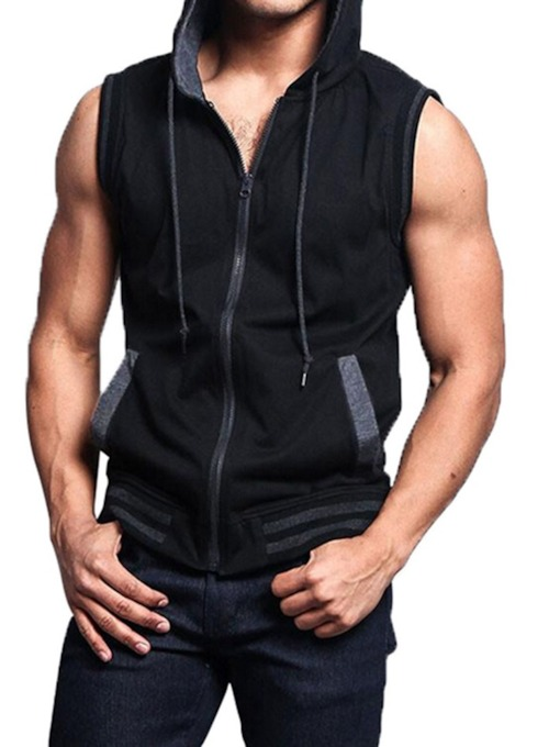 Loose Color Block Pocket Hooded Fall Men's Vest