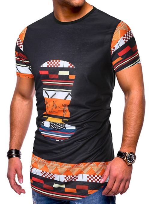 Round Neck Ethnic Print Color Block Short Sleeve Men's T-shirt