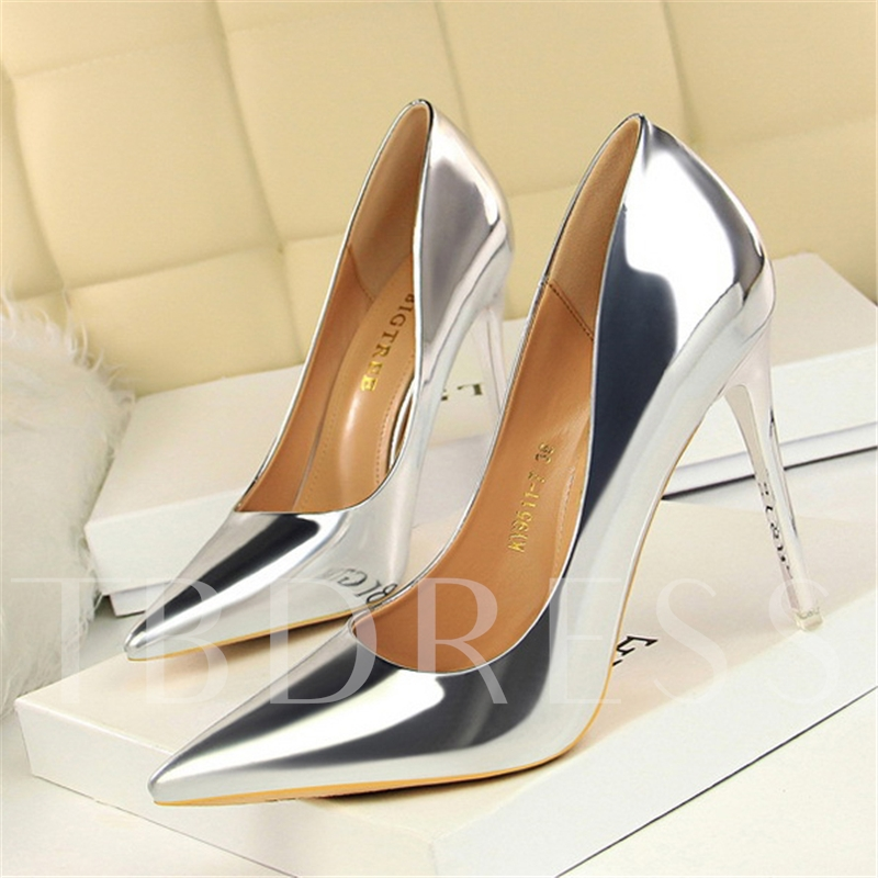 Metallic Pointed Toe Slip-On Sexy Women's Pumps
