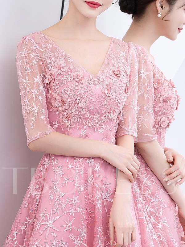 Lace V-Neck Half Sleeves A-Line Homecoming Dress 2019
