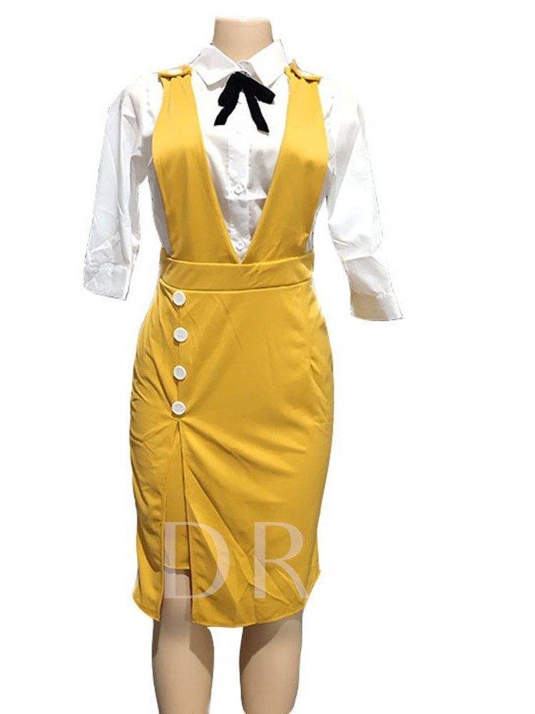 Plain Bowknot Skirt Office Lady A-Line Women's Two Piece Sets