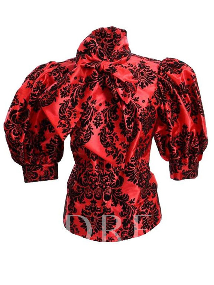 Lantern Sleeve Turtleneck Print Standard Women's Blouse