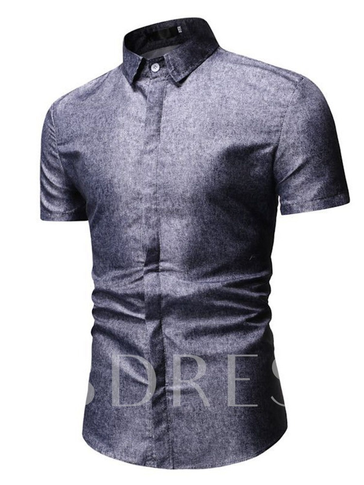 Plain Casual Button Lapel Single-Breasted Short Sleeves Men's Shirt