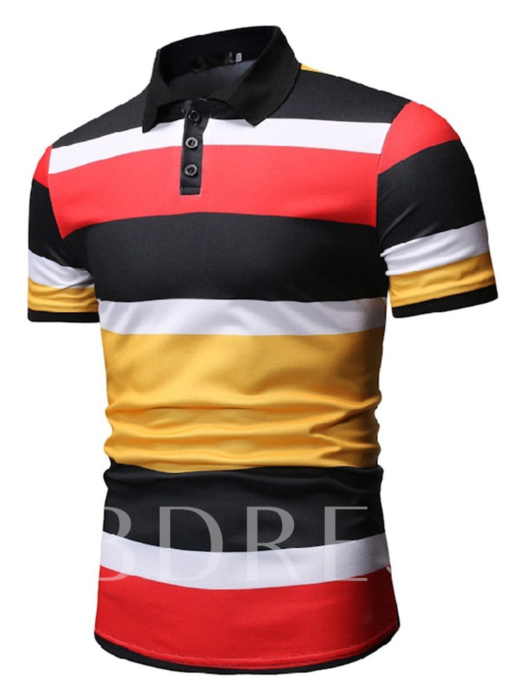 Button Color Block Polo Neck Men's Polo Shirt