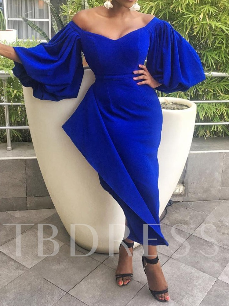 Patchwork Three-Quarter Sleeve V-Neck Off-The-Shoulder Women's Day Dress