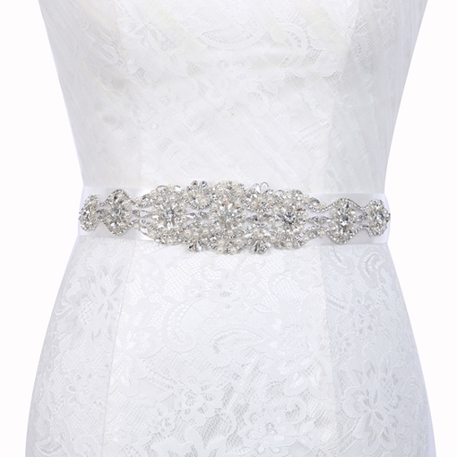 Polyester Wide Belt(>4cm) Rhinestone Bridal Belts 2019