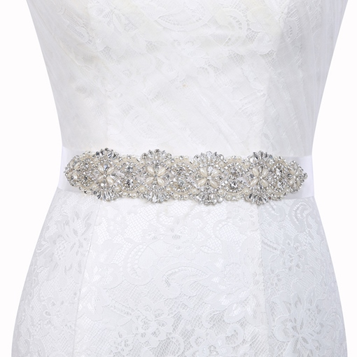 Wide Belt(>4cm) Polyester Rhinestone Bridal Belt