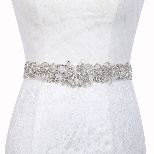 Wide Belt(>4cm) Polyester Rhinestone Bridal Belts 2019