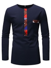 Round Neck Patchwork Color Block Casual Long Sleeve Men's T-shirt
